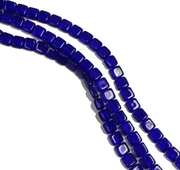 Cobalt 6mm Square Glass Czech Two Hole 25 Tile Beads Cztwn06-3009