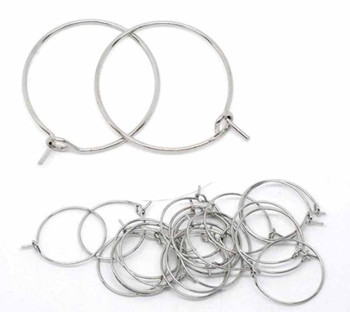 200 Nickel/Steel Tone 20mm 2/4 Inch Beading Hoop Wine Glass Charms Wire Rb10786