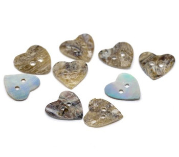 Mother of Pearl Hearts Sewing Buttons Scrapbooking 15mm, Sold Per Pack of 100