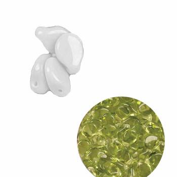 Lt Olive 5x7mm Pressed Czech Glass Pip Petal Apx 60 Beads Pip57-50220