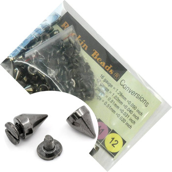 48 Sets Black Gunmetal Cone Screw On Spike Rivet Studs 10x7mm Punk Gothic Or Leather Work Rb22310-48