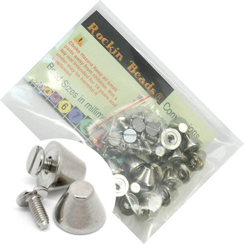 19 Sets Steel Nickel Tone Blunt Nose Screw On Spike Rivet Studs 11x8mm Punk Gothic Or Leather Work Rb19370-19