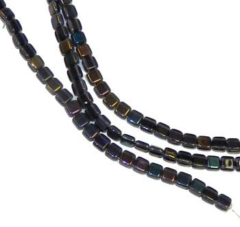 Twilight Tanzanite 6mm Square Glass Czech Two Hole 25 Tile Beads Cztwn06-W20510