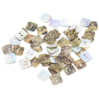 Mother Of Pearl Square Buttons Scrapbooking 12x12mm, Sold Per Pack Of 100 Rb10593