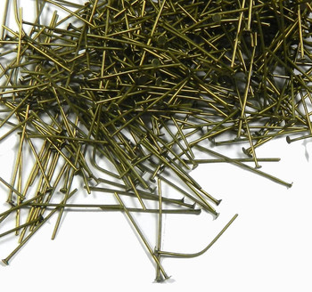 400 Head Pins 029Dia x 1-1/4 Inch Antiqued Brass Plate Over Metal Alloy St Ard 21 Ga Rb03599