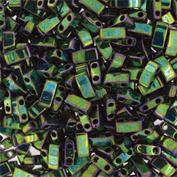 Metallic Green Iris Half Tila Beads 7.2 Gram Miuki Square 5mm 2 Hole Tlh468-Tb
