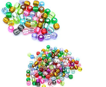 600 Mixed Multicolor Crafts Foil Pony Beads 7x7mm, Sold Per Pack Of 600 Rb10573