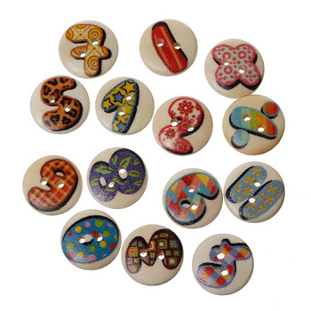 180 Wood Sewing Buttons Scrapbooking Numbers and Symbols Randum 2 Holes Mixed 15mm 3/5 Inch