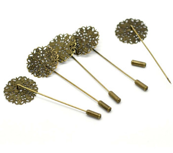 "20 Antique Gold Tone Tone Beading Coat Stick Pin Clutch Brooches 2-1/2 Inch 1"" Head Rb17328-20"