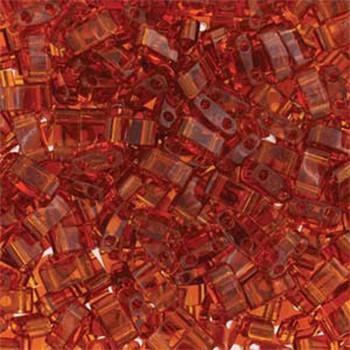 Dark Topaz Half Tila Beads 7.2 Gram Miuki Square 5mm 2 Hole Tlh134-Tb