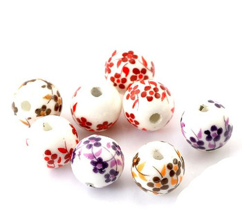 40 Ceramic Spacer Beads Oriental Flower Mix 12mm With Approx 1/2 Inch Rb21544