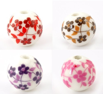 Rockin Beads Brand, 40 Ceramic Spacer Beads Oriental Flower Mix 12mm with Approx 1/2 Inch