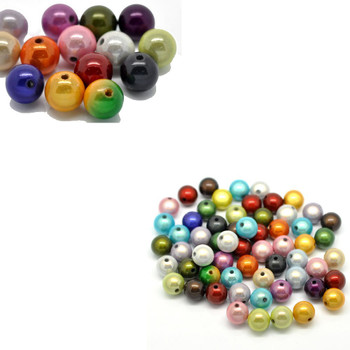 Mixed Miracle Acrylic Round Spacer Beads 12mm 90 Pack (1.9mm Hole) Rb15697-x1