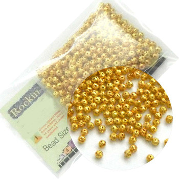 450 Open Weave Gold Tone 4mm Beads Metal Round Spacer Plated Metal Bead Rb03946