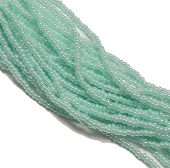 Green Ceylon Pearl Czech 6/0 Seed Bead on Loose Strung 6 String Hank