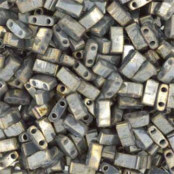 Galvanized Gery Luster Half Tila Beads 7.2 Gram Miuki Square 5mm 2 Hole Tlh1865-Tb