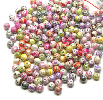 300 Mixed Acrylic Swirl And Strip Glazed Spacer Beads 8mm Round (1.4mm Hole) Rb24738
