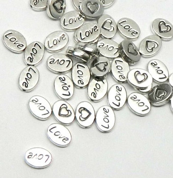 38 Oval Love Heart 8x10mm Antiqued Silver Beads Cast Zinc Metal Spacer Beads