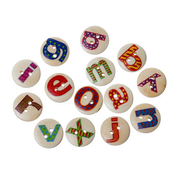 "180 Wood Sewing Buttons Scrapbooking Mixed Alphabet/Letter ""A-Z"" Randum 2 Holes Mixed 15mm 3/5 Inch Rb38378"