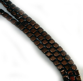 Dark Bronze Czechmate 6mm Square Glass Czech Two Hole Tile Bead 25 beads
