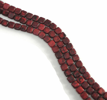 Black Picasso Opaque Coral Red D 6mm Square Glass Czech Two Hole 25 Tile Beads Cztwn06-Tk93200