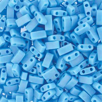 Opaque Turquoise Blue Matte Half Tila Beads 7.2 Gram Miuki Square 5mm 2 Hole Tlh413Fr-Tb