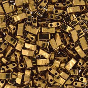 Dark Bronze Half Tila Beads 7.2 Gram Miuki Square 5mm 2 Hole Tlh457-Tb