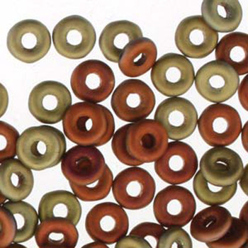 Jet California Gold Rush Matte O-Beads 3.8x1mm Czech Glass Mini Flat Ring 8G Ob2423980-98572-Tb