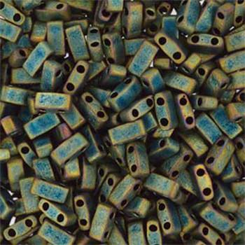Metallic Iris Green Matte Half Tila Beads 7.2 Gram Miuki Square 5mm 2 Hole Tlh2008-Tb