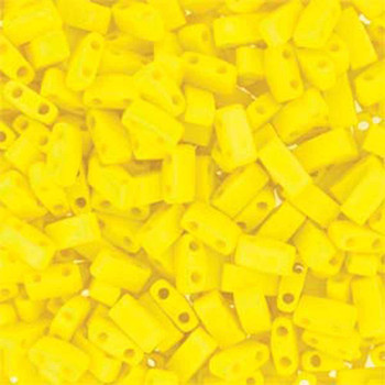 Opaque Matte Yellow Half Tila Beads 7.2 Gram Miuki Square 5mm 2 Hole Tlh404Fr-Tb