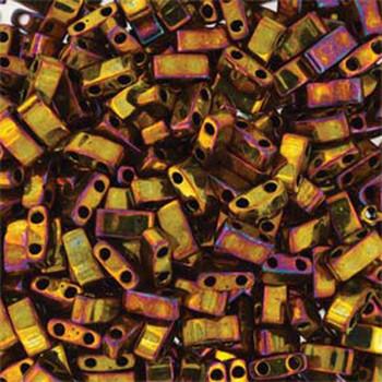 Gold Iris Half Tila Beads 7.2 Gram Miuki Square 5mm 2 Hole Tlh462-Tb
