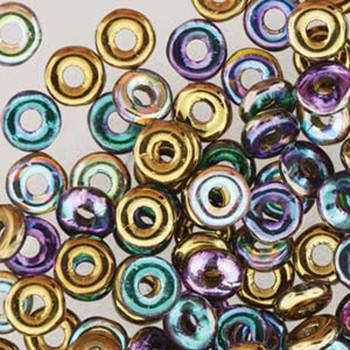 Crystal Gold Rainbow O-Beads 3.8x1mm Czech Glass Mini Flat Ring 8 Gram Ob2400030-98536-Tb