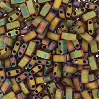 Metallic Iris Khaki Matte Half Tila Beads 7.2 Gram Miuki Square 5mm 2 Hole Tlh2035-Tb