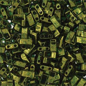 Olive Green Gold Luster Half Tila Beads 7.2 Gram Miuki Square 5mm 2 Hole Tlh306-Tb