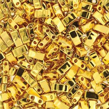 Gold Plated Half Tila Beads 7.2 Gram Miuki Square 5mm 2 Hole Tlh191-Tb