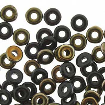 Jet Valentinite O-Beads 3.8x1mm Czech Glass Mini Flat Ring 8 Gram Ob2423980-22601-Tb