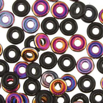 Jet Sliperit O-Beads 3.8x1mm Czech Glass Mini Flat Ring 8 Gram Ob2423980-29500-Tb