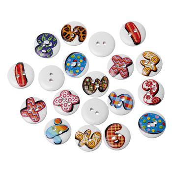 180 Wood Sewing Buttons Scrapbooking Numbers And Symbols Randum 2 Holes Mixed 15mm 3/5 Inch 2 Rb38370
