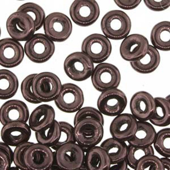 Jet Lilac Vega Luster O-beads 3.8x1mm Czech Glass Mini Flat Ring 8 gram