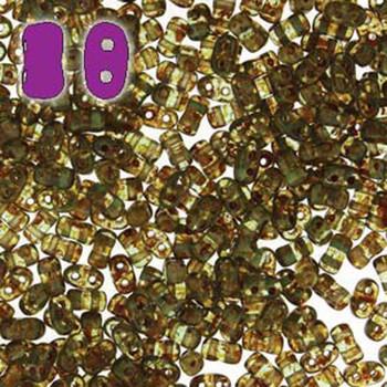 Aqua Travertine Bi-Bo Czech Glass 2 Hole Seed Beads 5.5x2.8mm 22Gr Bo52-60020-86800-Tb