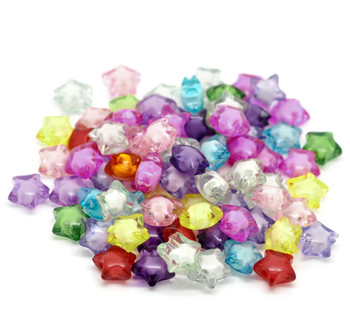 Mixed Acrylic Star Spacer Beads 12mm, 180 Pack (1.9mm Hole) Rb19748-x1
