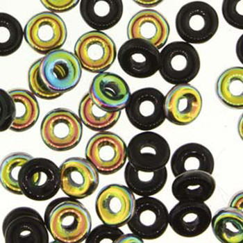 Jet Vitrail O-Beads 3.8x1mm Czech Glass Mini Flat Ring 8 Gram Ob2423980-28101-Tb