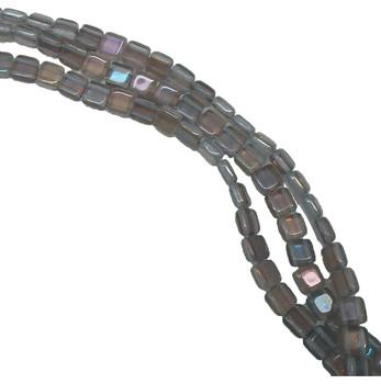 Twilight Alexandrite 6mm Square Glass Czech Two Hole 25 Tile Beads Cztwn06-W20210