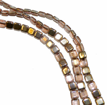 Apollo (Gold) 6mm Square Glass Czech Two Hole 25 Tile Beads Cztwn06-27101