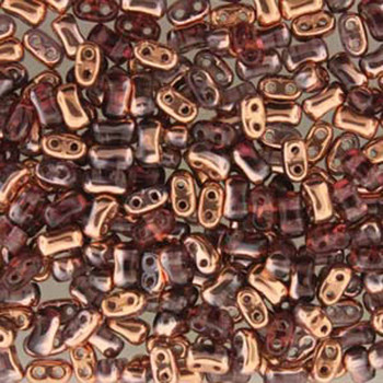Amethyst Capri Gold Bi-Bo Czech Glass 2 Hole Seed Beads 5.5x2.8mm 22Gr Bo52-20060-27101-Tb