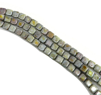 Luster Opaque Green 6mm Square Glass Czech Two Hole Tile Bead 25 Beads