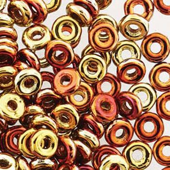 Jet California Gold Rush O-beads 3.8x1mm Czech Glass Mini Flat Ring 8 gram