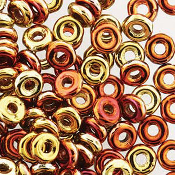 Jet California Gold Rush O-Beads 3.8x1mm Czech Glass Mini Flat Ring 8 Gram Ob2423980-98542-Tb