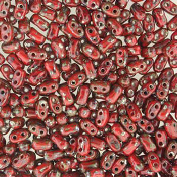 Coral Red Picasso Bi-Bo Czech Glass 2 Hole Seed Beads 5.5x2.8mm 22Gr Bo52-93200-43400-Tb
