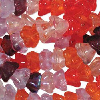 Melonberry Mix 10x13mm Flower Cone 45 Bead Cap Czech Glass Beads Flw1113Mix10